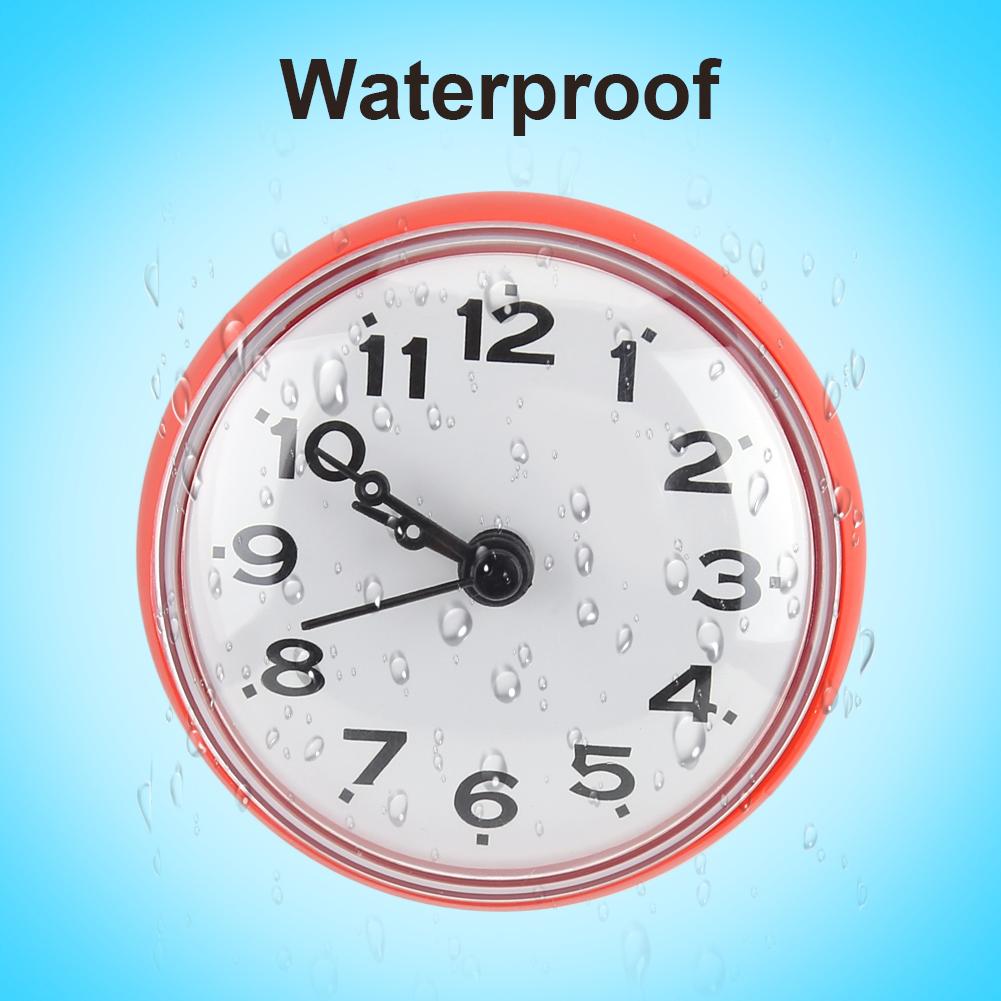 Bathroom Wall Clock Suction Watch Kitchen Bath Shower Window Waterproof Z2