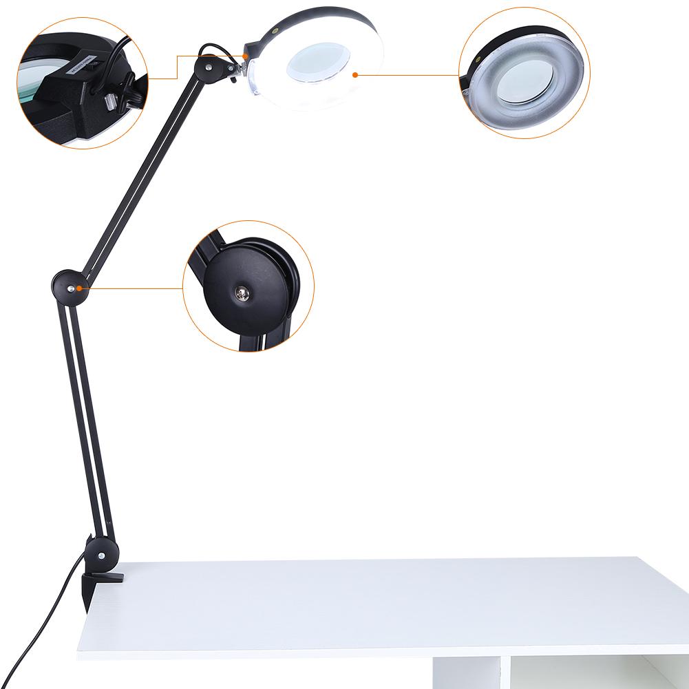 Large Lens Lighted Lamp Desk Magnifier 5x Magnifying Glass