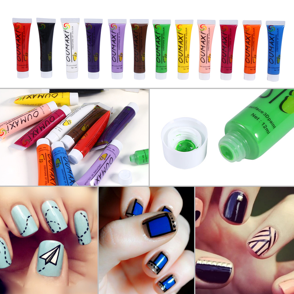 12 Colors Acrylic Paint Nail Art Uv Gel 3d Painting Pigment Design