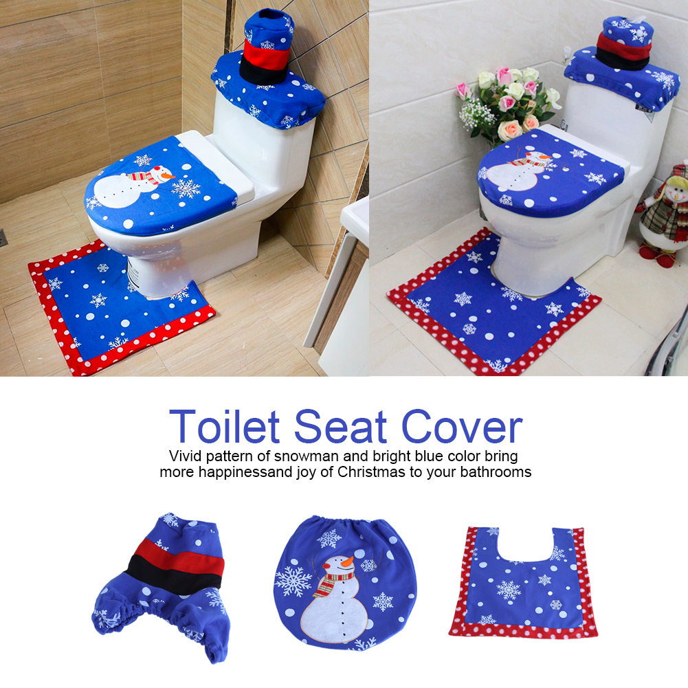 Christmas Decorations Xmas Toilet Seat Cover Set Santa Elf Reindeer Snowman Gift