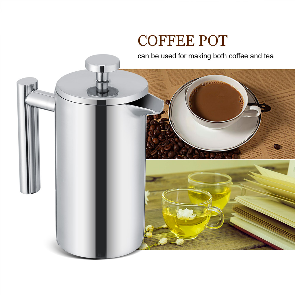 350ml double wall stainless steel coffee maker french press tea pot w filter ss ebay. Black Bedroom Furniture Sets. Home Design Ideas