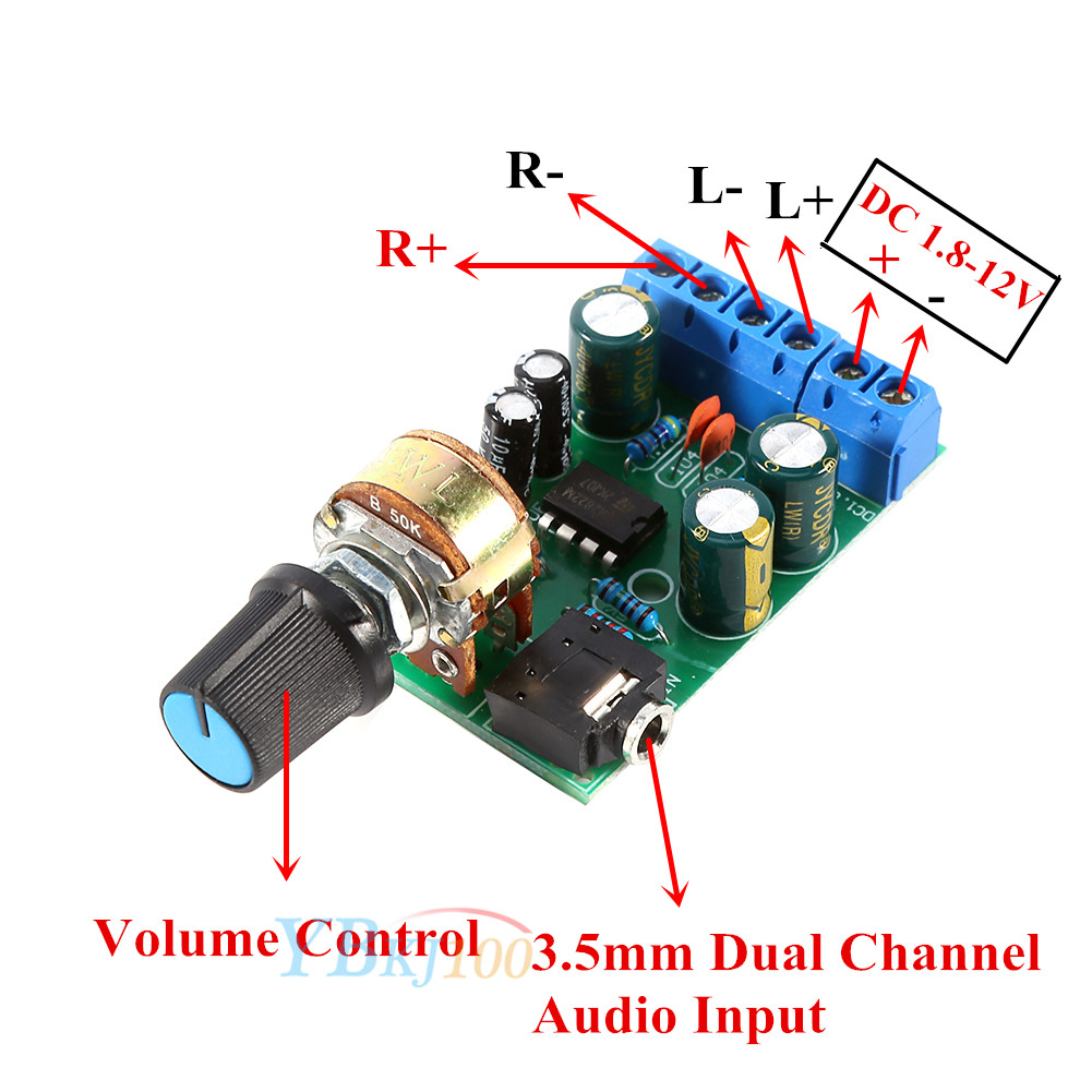 New Dc 18 12v Tda2822m Amplifier 20 Channel Stereo Audio Amp Board Wiring 2 Volume Control Potentiometer Is Convenient For User To Adjust 3 Terminals Allow Wire With Only A Screwdriver Not Soldering Iron