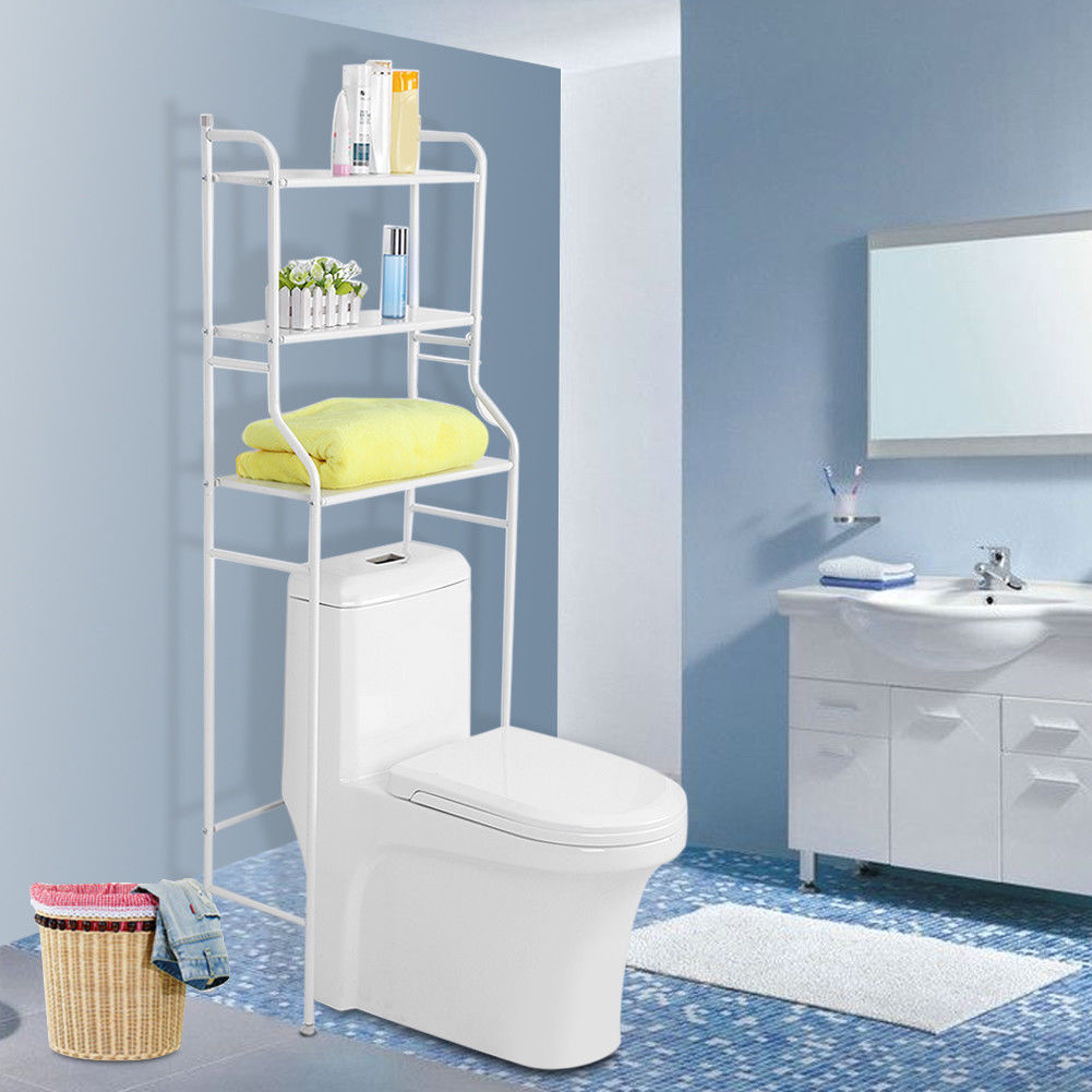 3 Tier Bathroom Over Toilet Storage Shelves Towel Rail Shelf Rack ...