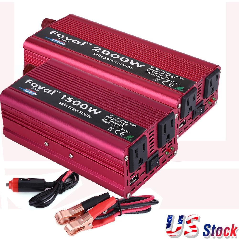 New 1500//2000W Portable Car LED Power Inverter WATT DC12V to AC110V Converter US
