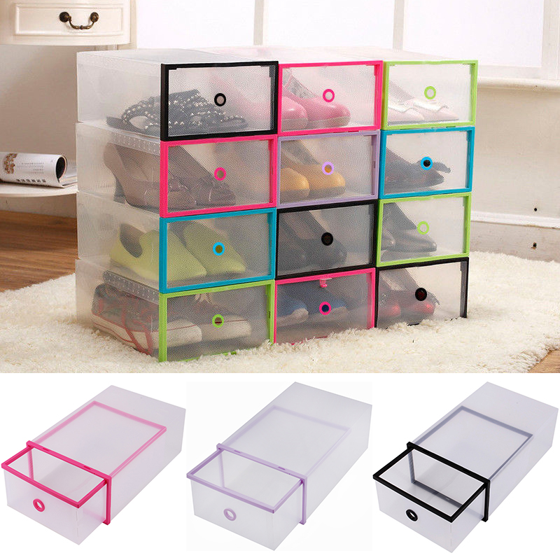 Lovely Foldable Clear Plastic Drawer Case Shoe Storage Stackable Box Organizer Home