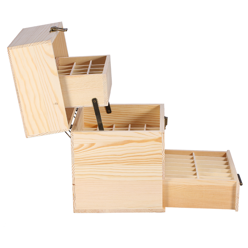 Essential Oil Case Wooden Storage Box Multi Tray Carry