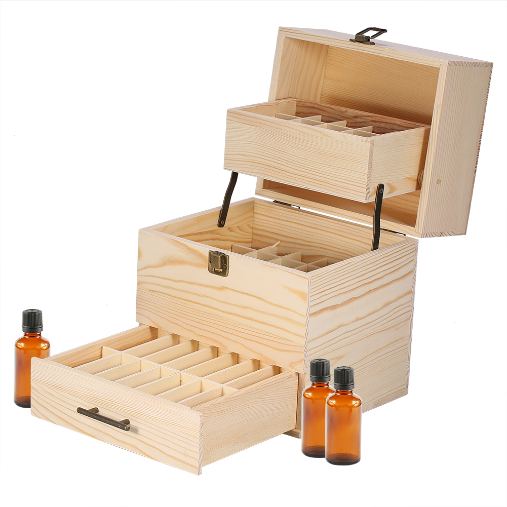 Incroyable 3 Tiers Essential Oil Large Wooden Storage Box Multi Tray Organizer Case  Holds
