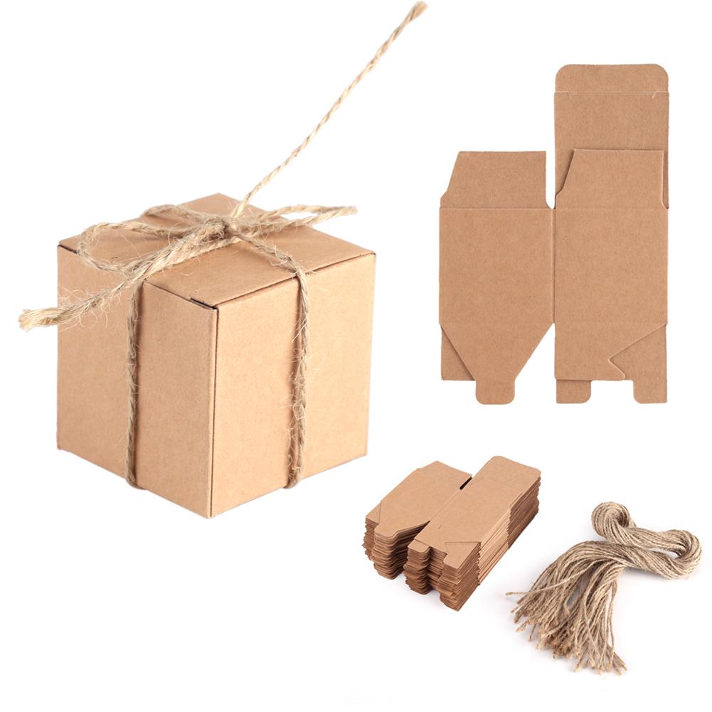 50 Pcs Kraft Gift Boxes Jewelry Candy Box Chocolate Box