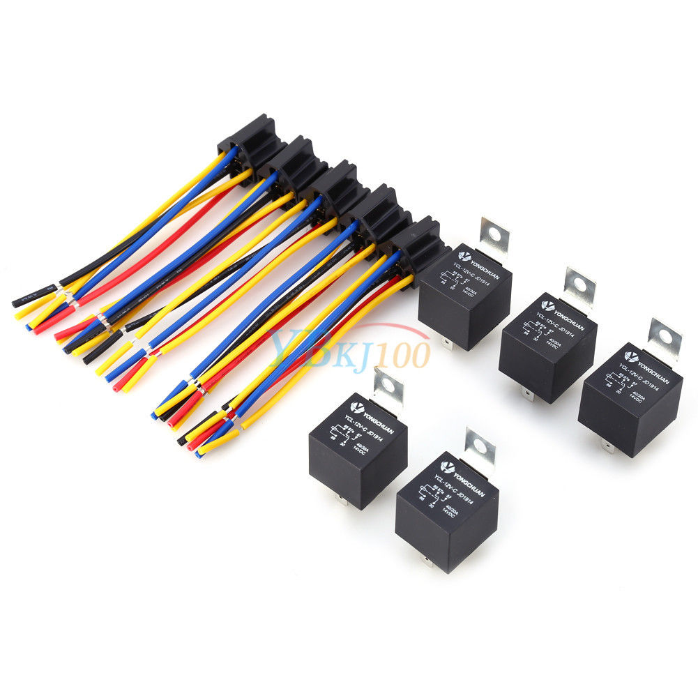 5x 12v 12 Volt 40a Amp 5 Prong Relay Sockets Spdt 5pin Wire For How To A Car Auto Truck