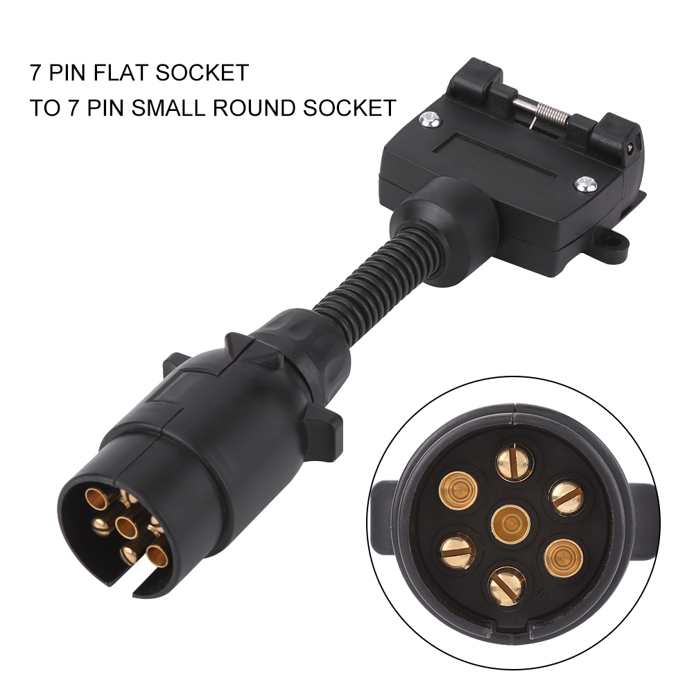 7 Pin AU Trailer Plug Adapter Round Male to Flat Female Socket ...