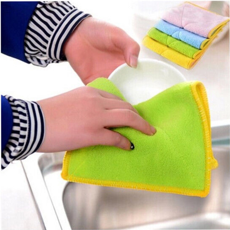 Dishcloth In Spanish: Bamboo Fiber Dish Towel Kitchen Clean Towels Dishcloth