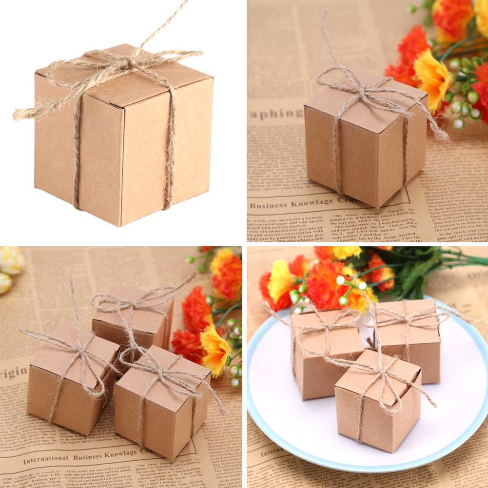 50pcs Mini Paper Boxes Candy Cake Box Wedding Shower Birthday Party Gift Bag