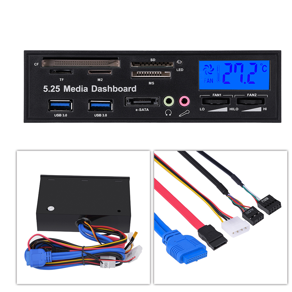 5.25inch Media Dashboard Front Panel Audio Support for Windows 2000//XP//Vista and Win7//8; Linux//OS etc Multi Card Reader with USB 3.0 // USB2.0 // Audio//eSATA//SATA Port