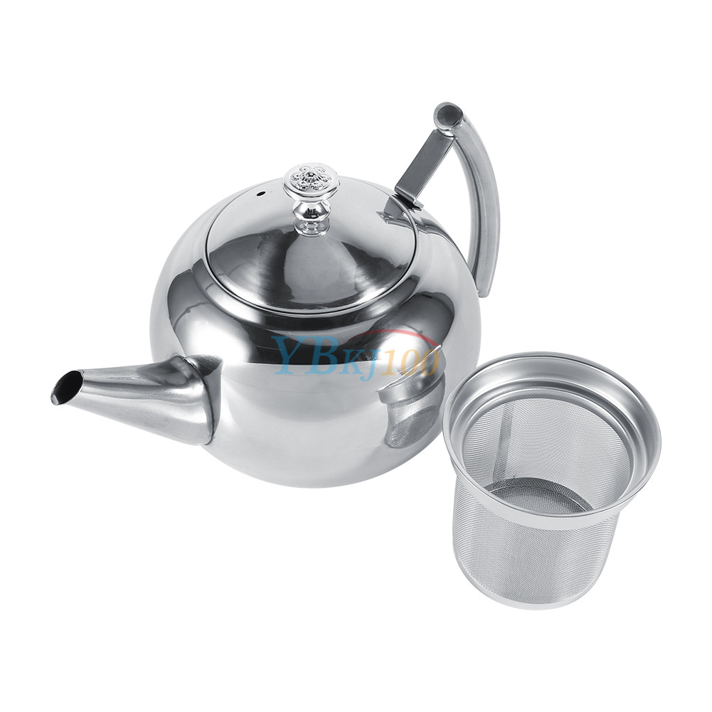 1500ml Stainless Steel Teapot Coffee Kettle With Tea Leaf Infuser Strainer New