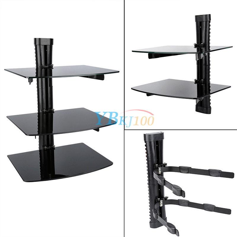 Floating Shelves 2 3 Tier Glass Wall Mounted Tv Sky Box