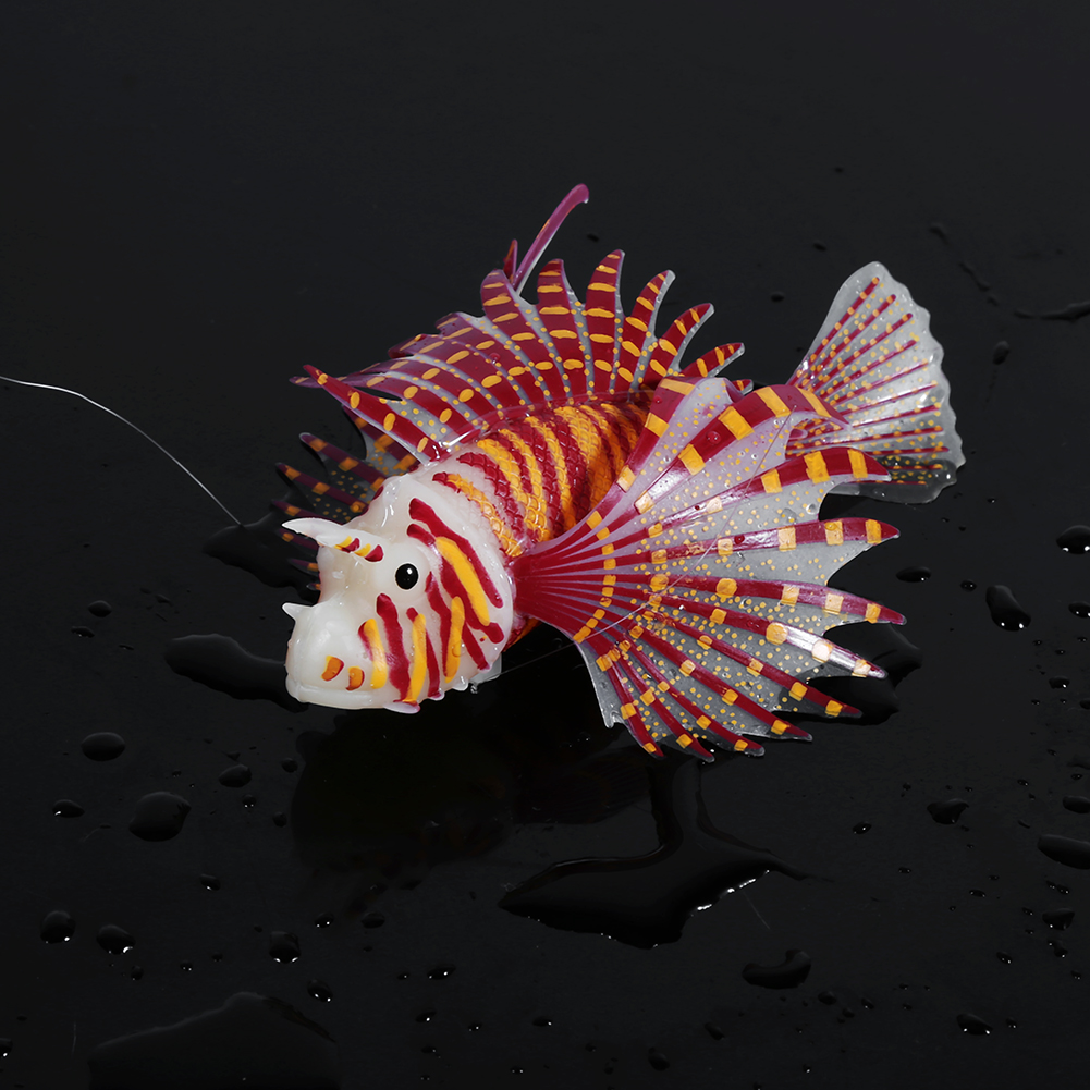 Luminous Silicone Fish Lionfish Aquarium Fake Fish Toy Tank Decor ...