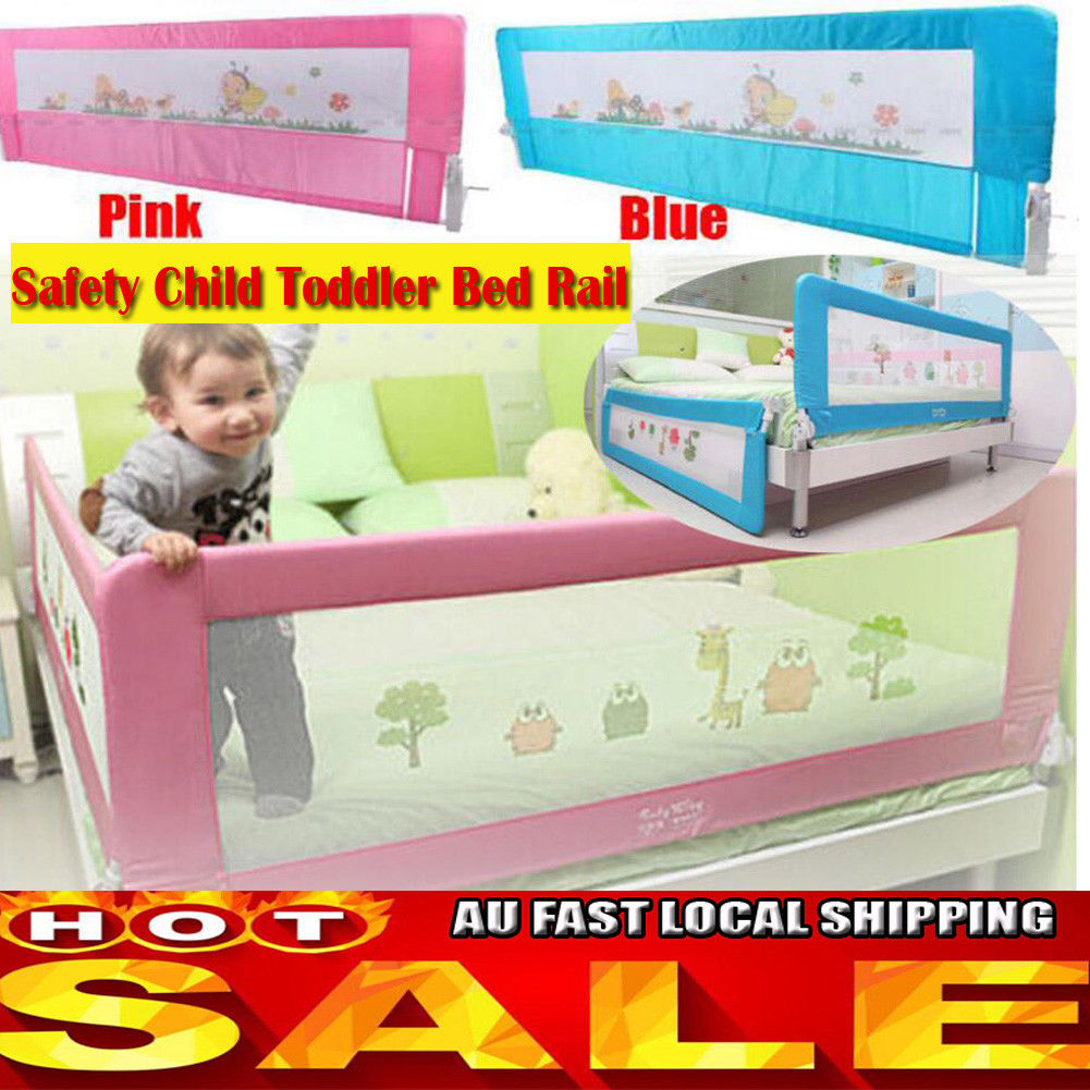 Child Toddler 15 18M Safety Bed Rail Baby Bedrail Fold Cot Guard Protection AU