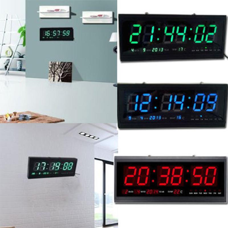 Modern Led Digital Square Large 3d Watch Wall Clock Alarm