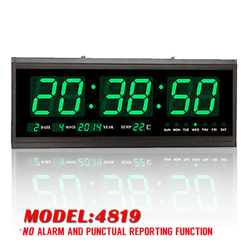 Large Modern Led Digital Square 3d Watch Wall Clock Alarm