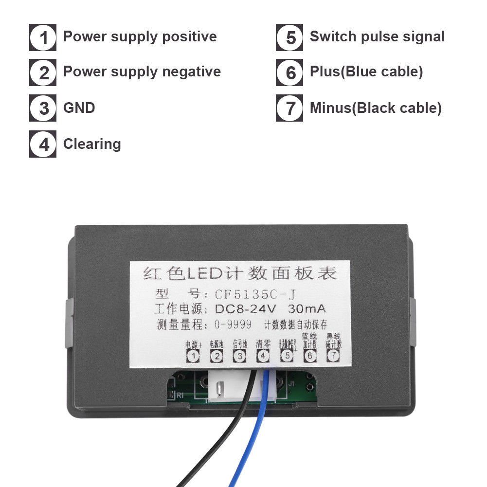 4 Digit Led Digital Counter Meter Hall Sensor Npn Relay Output Simple Magnetic Pulse Using Circuit Diagram Gs02712