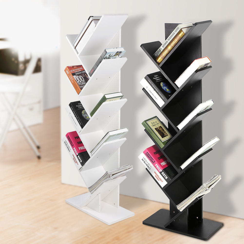House Bookshelf: Corner Wall Shelves 8/9 Tier Display Storage Shelf Mount