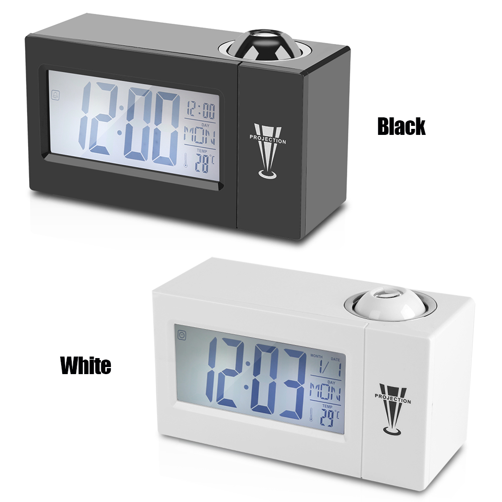 Details About Lcd Digital Sound Control Ceiling Projection Weather Alarm Clock Snooze Time Co