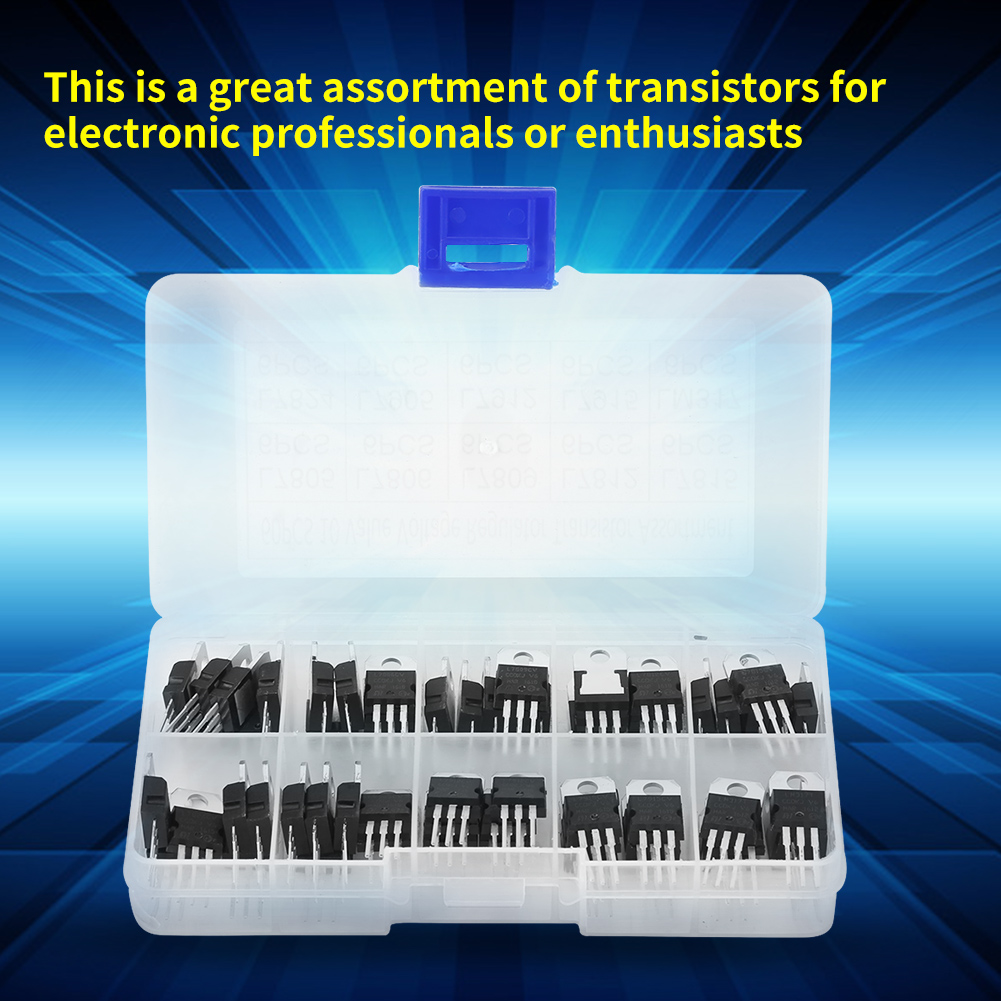 60pcs 10value L7805 Lm317 Voltage Regulator Transistor Assortment Switching Circuit Using Schematic Kit With Case