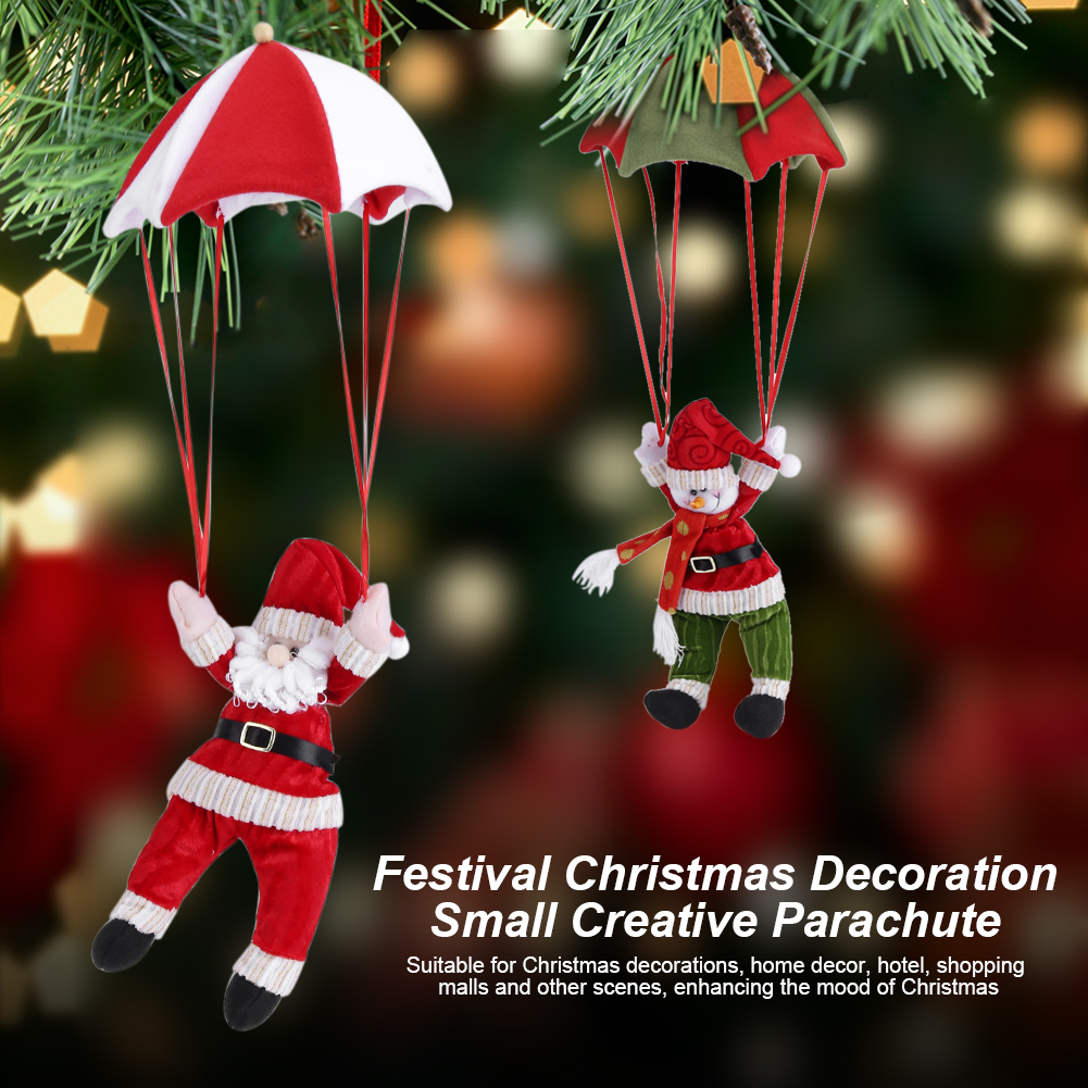Christmas Tree Hanging Decoration Parachute Santa Snowman Claus Xmas Ornament SG
