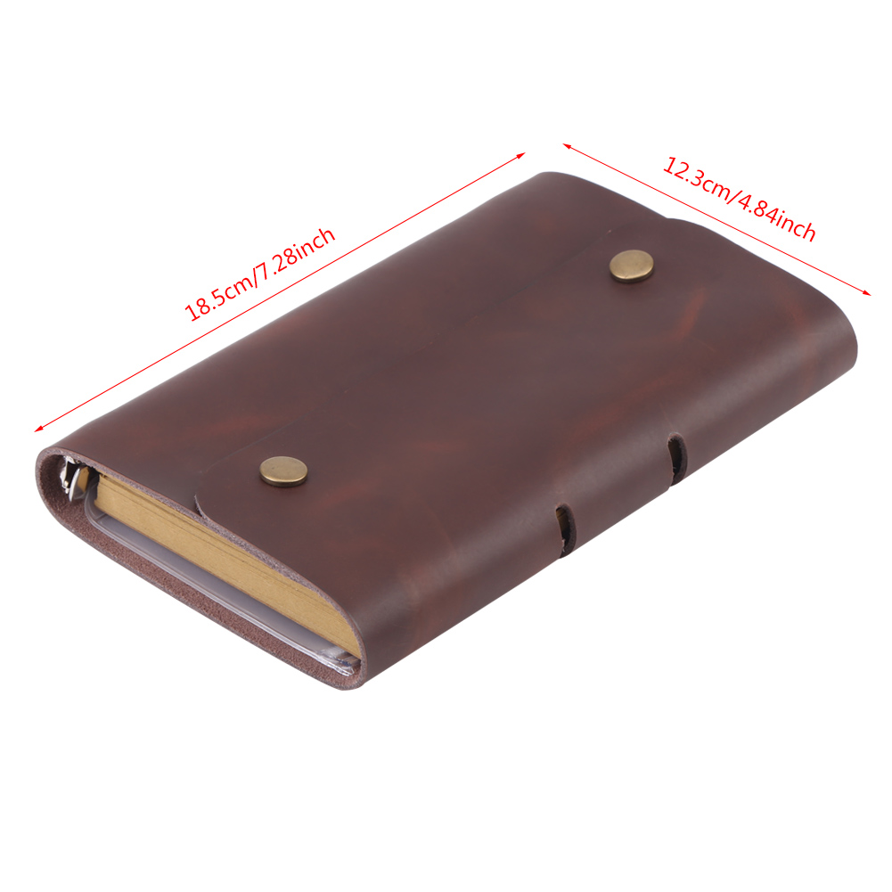 Multi-use A6 80 Sheet Brown Leather Notebook Spiral Ring