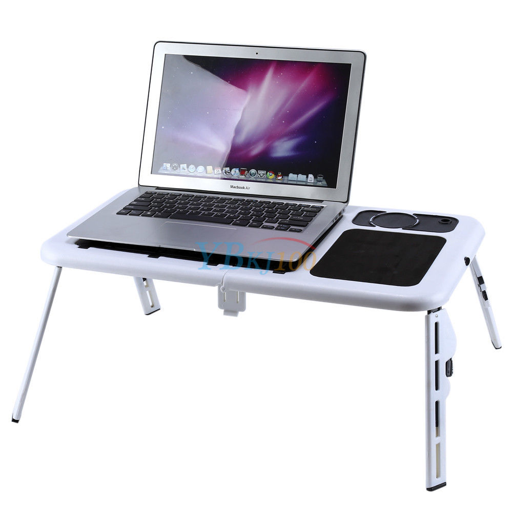 Adjustable Laptop Foldable Table Desk Computer Stand Folding With 2 Cooling  Fans