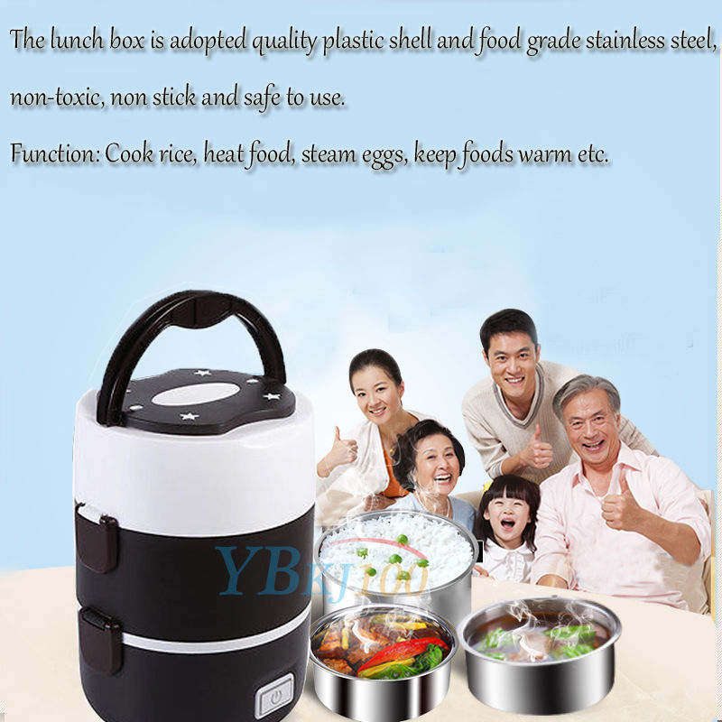 Portable 220V 3 Tier Electric Heating Lunch Box Set Food Warmer Container Bento