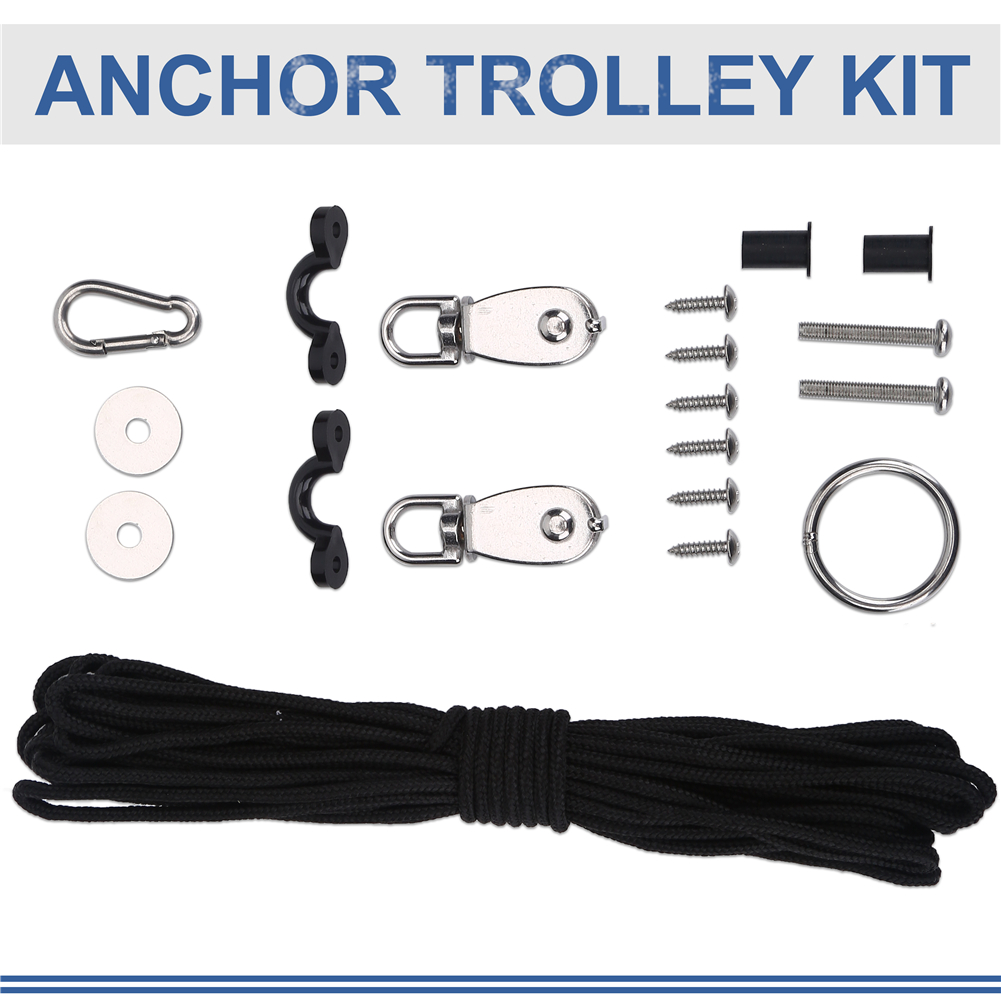 Kayak Canoe Anchor Trolley Kit System Pulley Cleat Pad Stainless Steel Washer