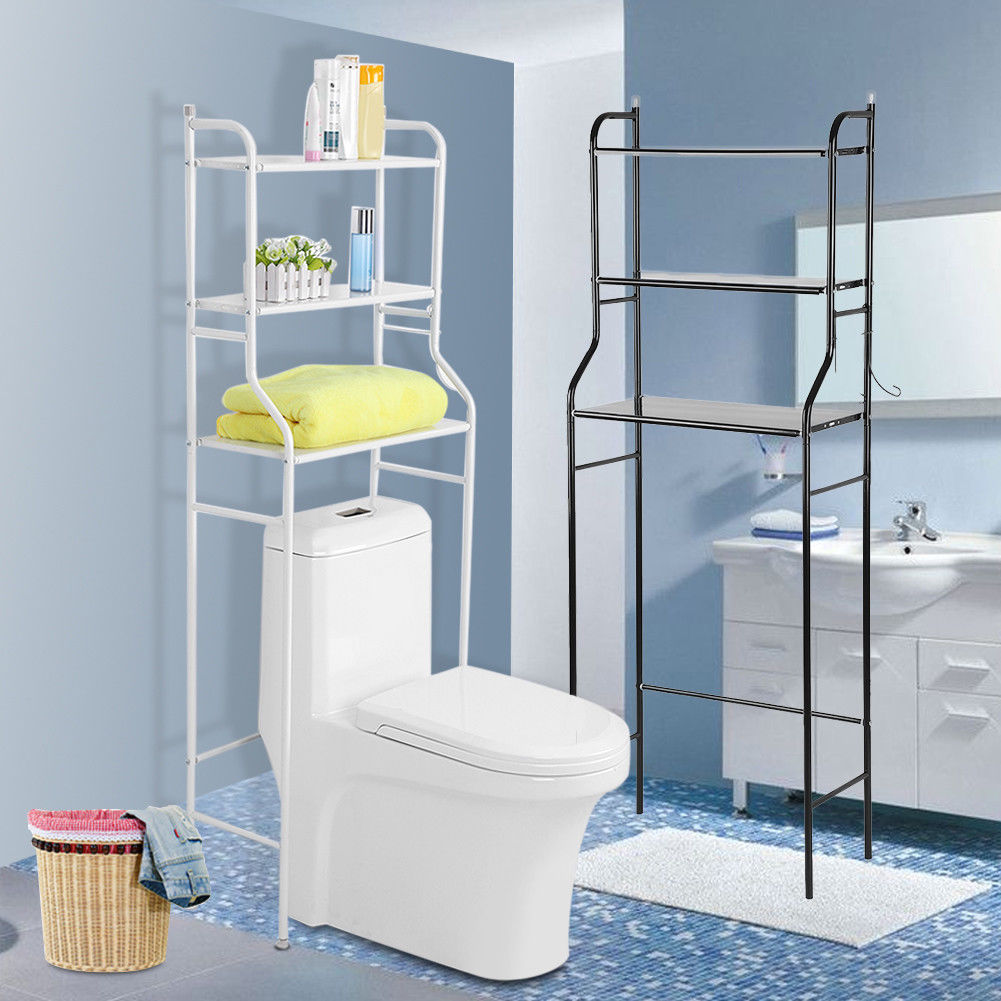 Metal Over Toilet Storage Shelves Freestanding Towel Rail Shelf Rack ...