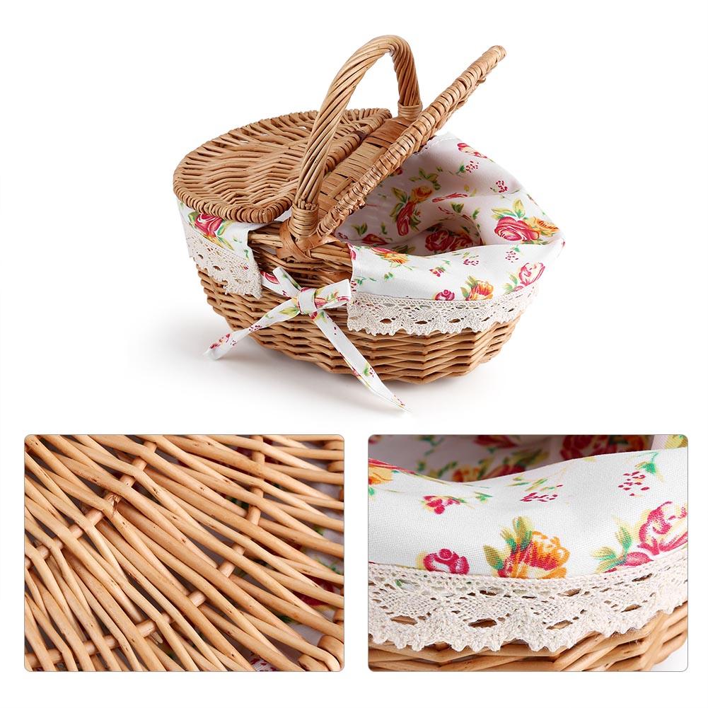 Willow Wicker Storage Basket Hamper Handles Natural Wooden: Vintage Wooden Wicker Picnic Basket Shopping Hamper