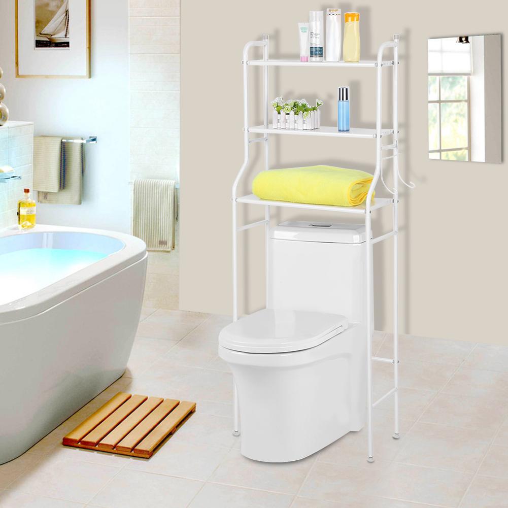 Metal Over Toilet Storage Shelves Freestanding Towel Rail Shelf Rack Space  Saver