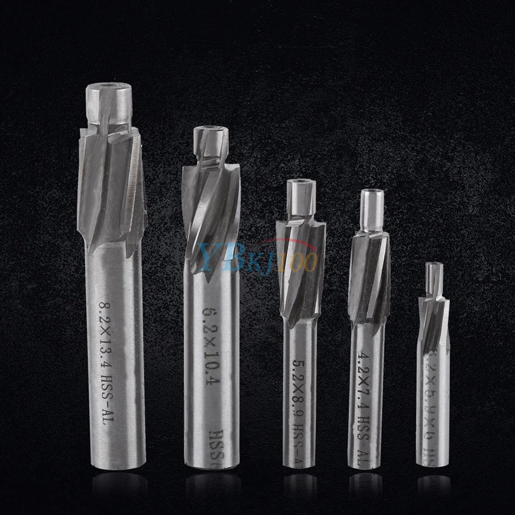 5pcs M3-M8 HSS-AL 4 Flute Countersink End Mill Cutter Drill Bit Slot Kit Tools
