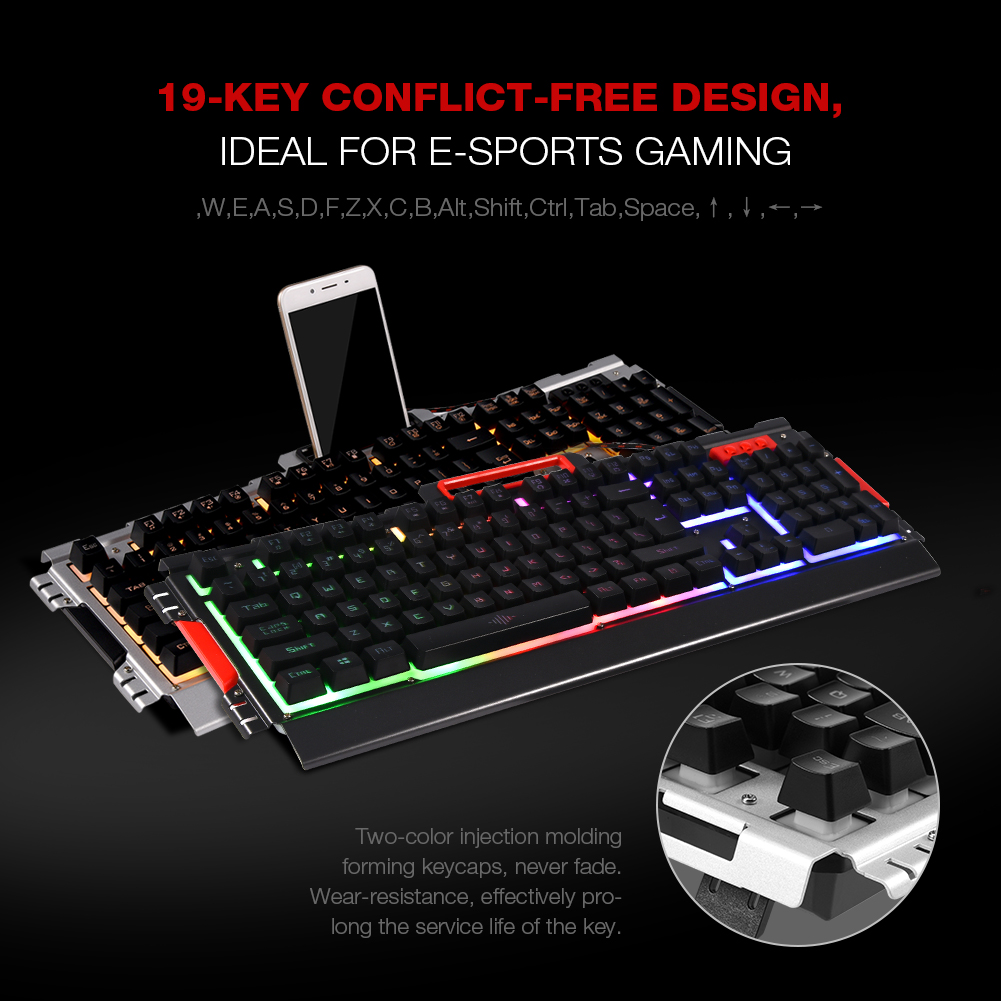 Usb Wired Gaming Keyboard 104 Keys Led Backlight 7 Color Optical Mouse Wiring Diagram For Pc