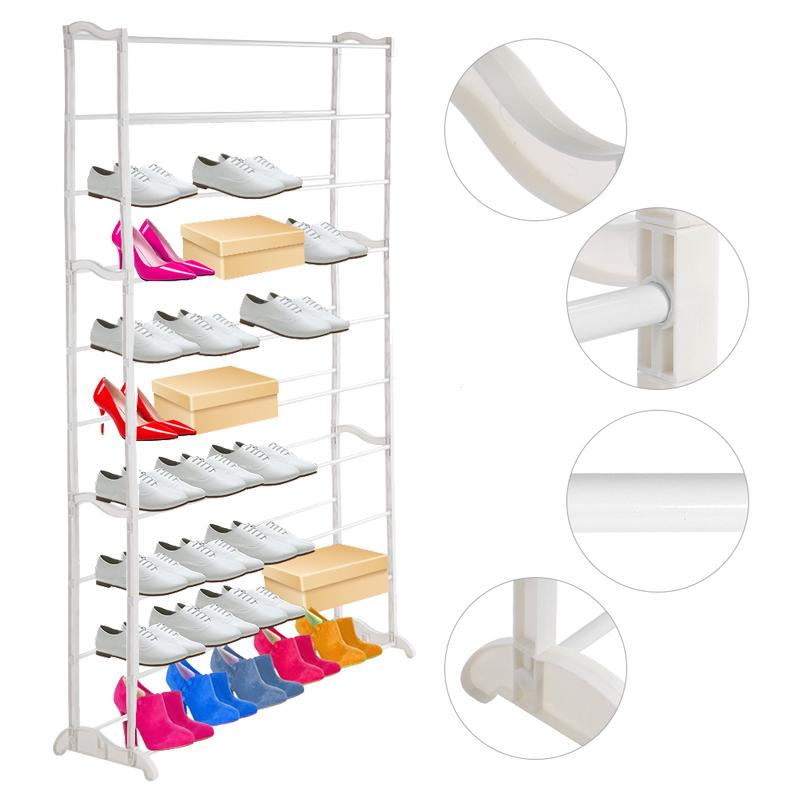 10 Ebenen Schuhregal Schuhschrank Schuhablage 140cm Bis 50 Paar Schuhe Weiß  GD
