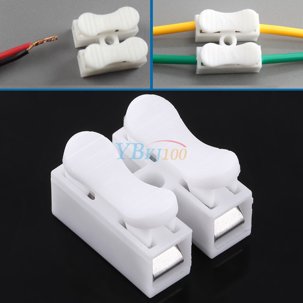 100Pcs 10A 220V 2 Pin Electrical Wire Connector Quick Wiring ...