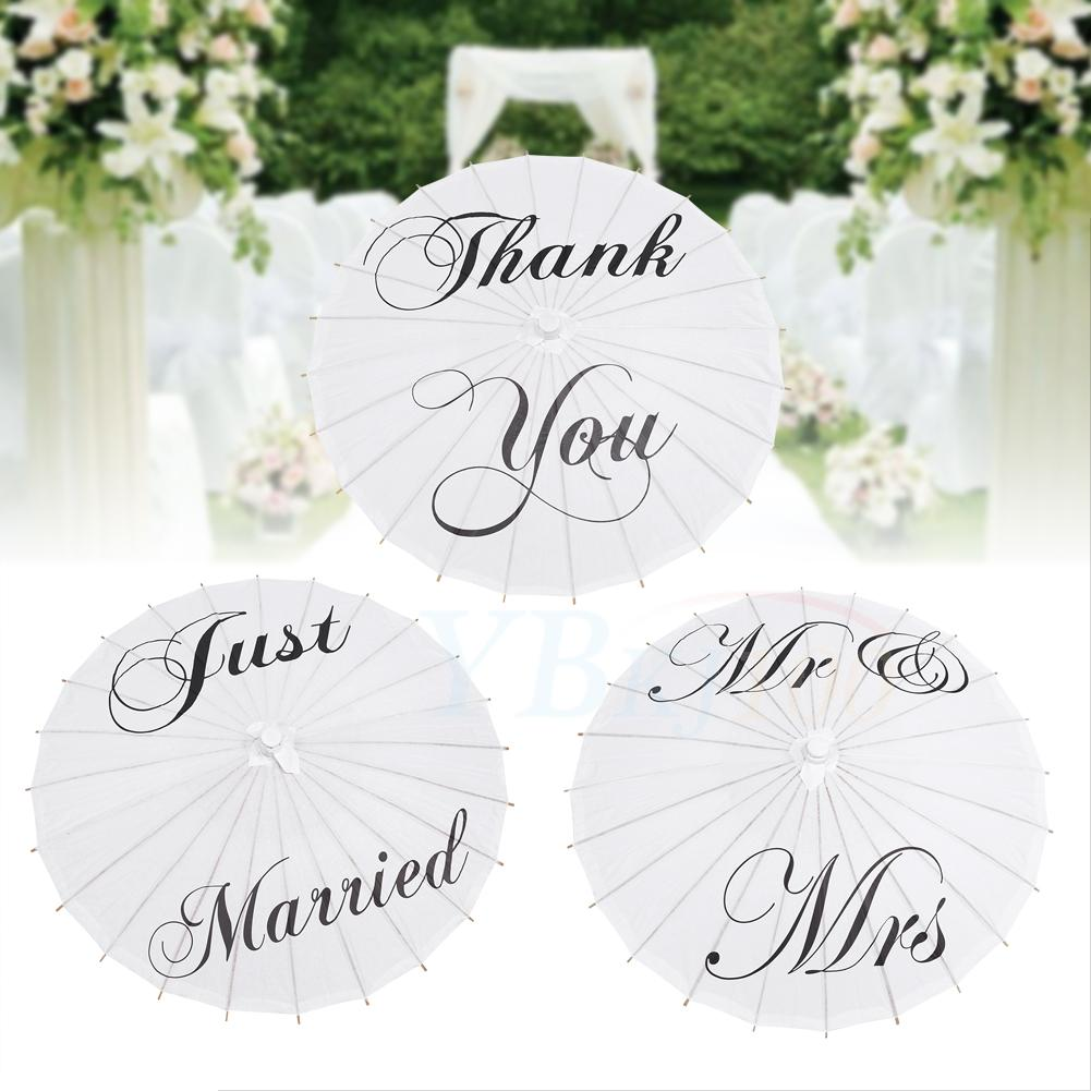 Just Married Mr&Mrs Thank You White Bamboo Paper Parasol Umbrella ...