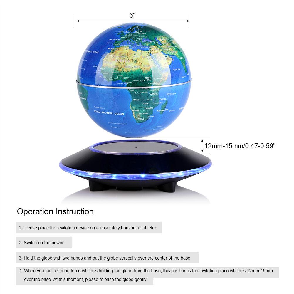 Magnetic levitation led world map floating rotating ball globe home product description gumiabroncs Images