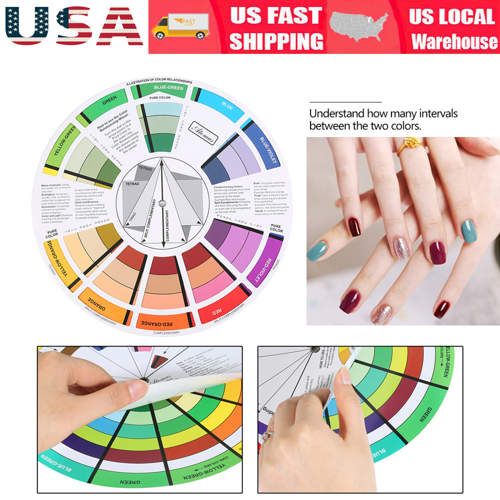 Atomus Color Wheel Artist Paint Mixing Guide Tattoo Nail Color Wheel ...