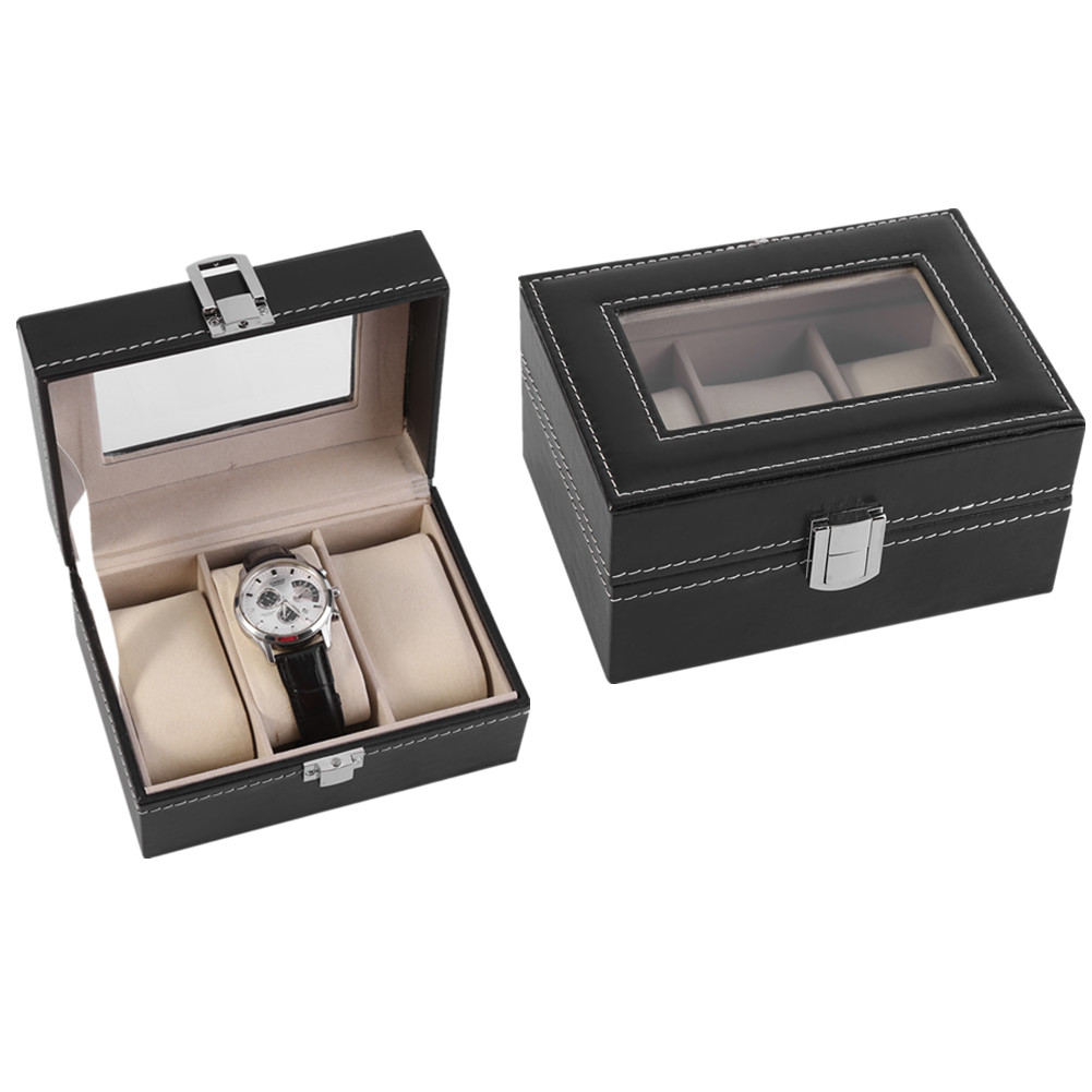 3 Slots Black Watch Box Leather Display Case Organizer Top Glass