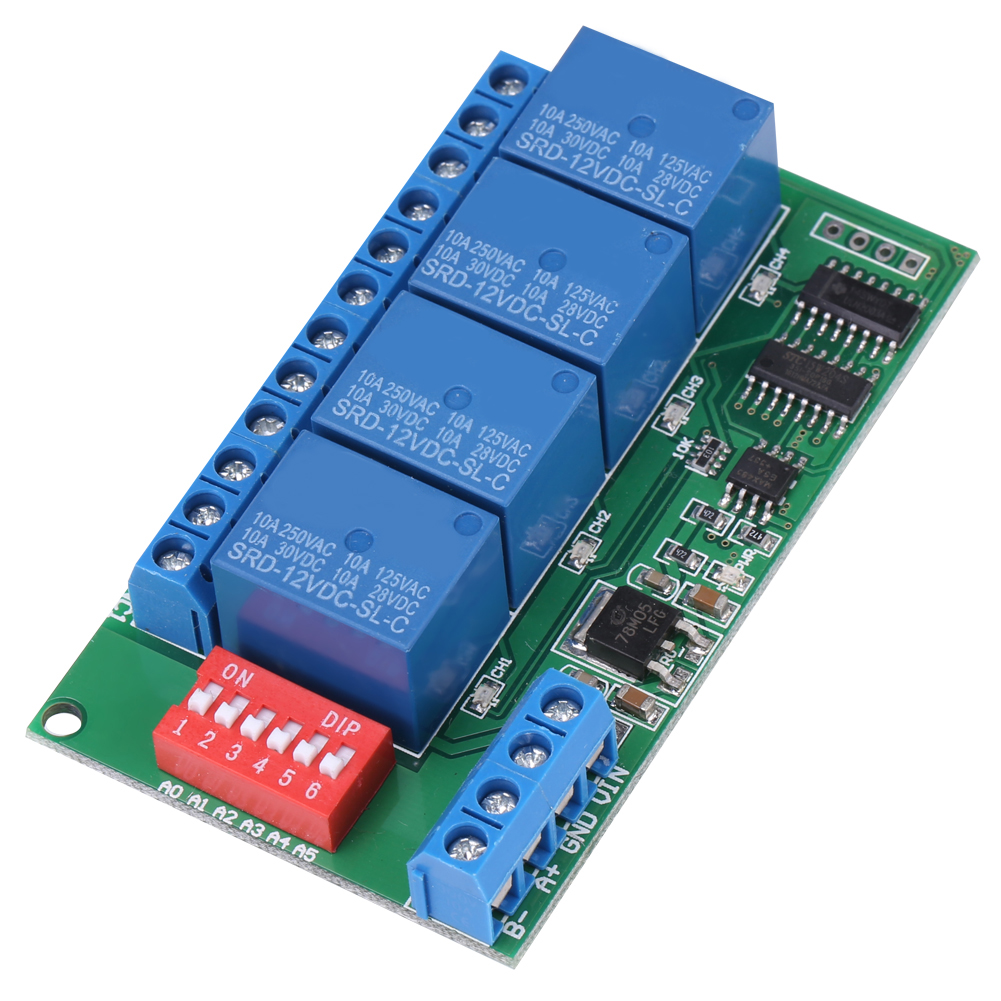Dc 12v 4 Channel Rs485 Delay Timer Switch Relay Module Modbus At Remote Control Wiring Diagram