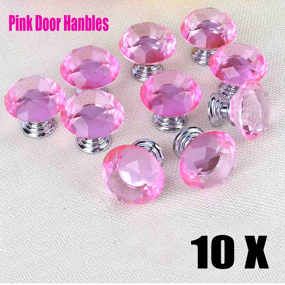 30mm Pink Crystal Glass Diamond Door Knob Pull Drawer Cabinet Handle ...