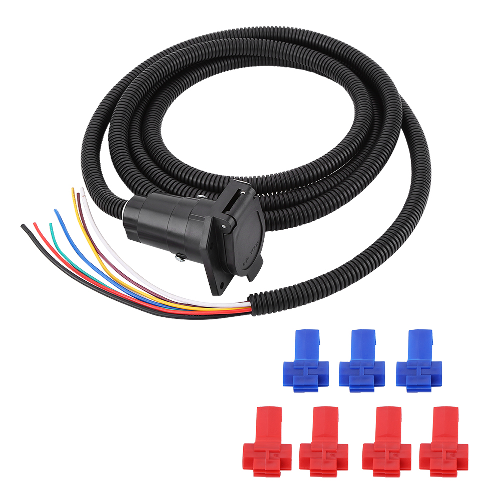 Rv 7 Way 10ft Trailer Cable Wire Harness Brake Light Plug Molded For Wiring Car Side Mf