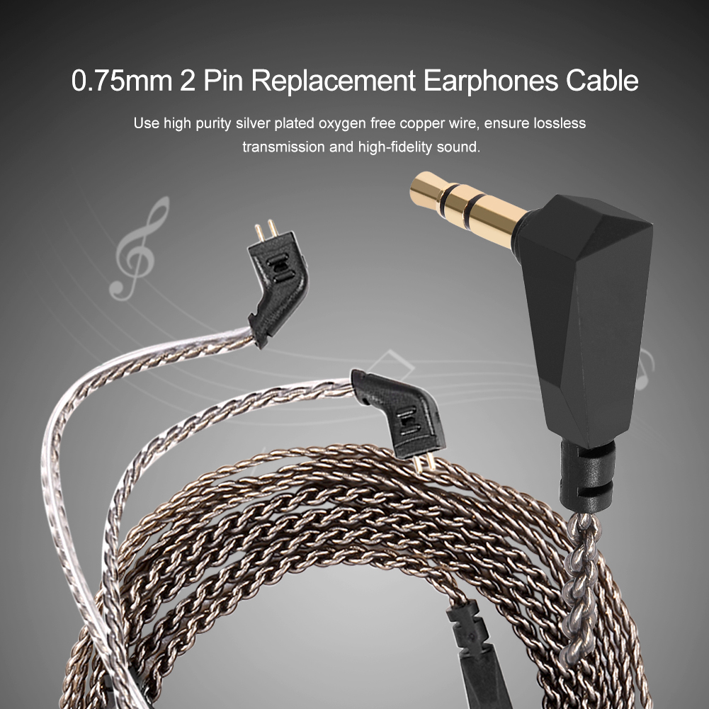 2 Pin Pure Copper Wire Earphones Cable Audio Cord for KZ ZST ED12 ...