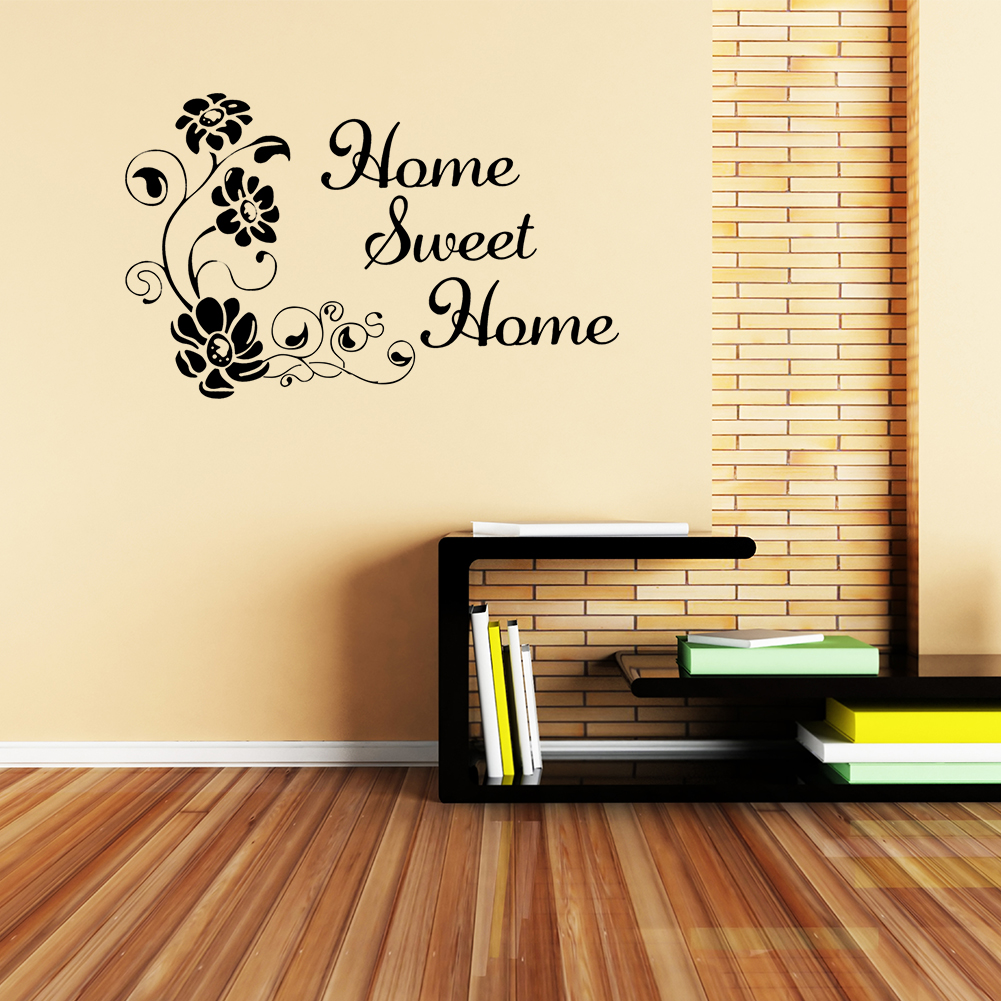 DIY PVC Removable Wall Sticker Art Quote Flower Decal Home Room Cafe ...
