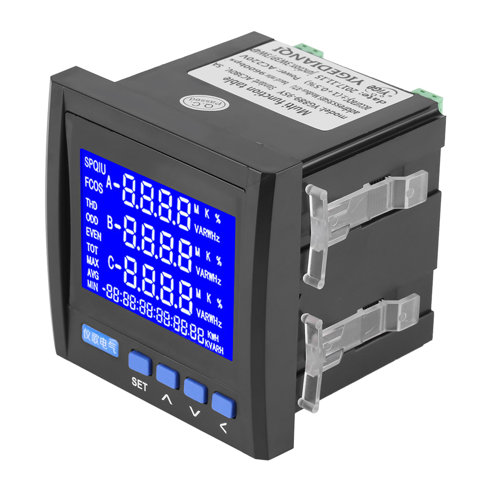 3 phase electric current voltage frequency power energy meter v a hz kwh rs485 ebay. Black Bedroom Furniture Sets. Home Design Ideas