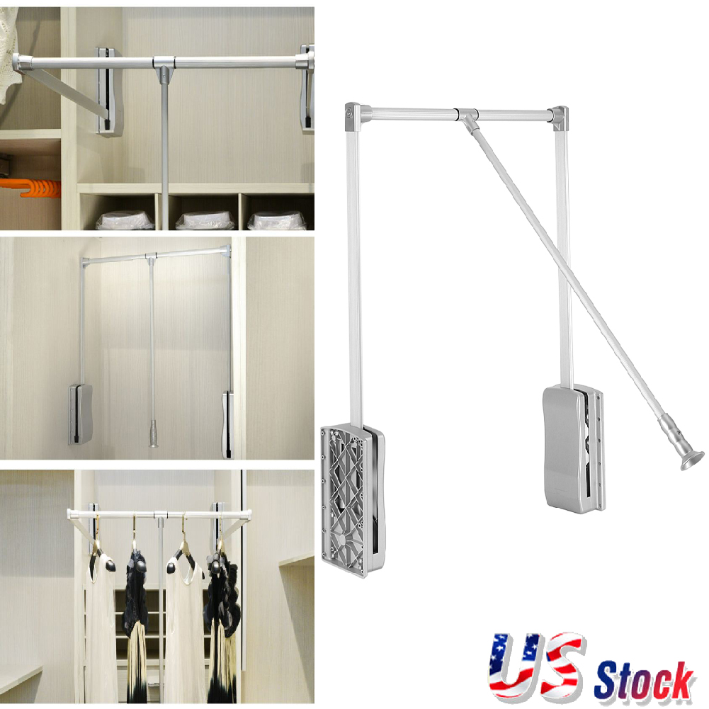 rack kitchen bedroom itm cabinet down pull rod wardrobe rail lift adjustable closet